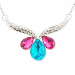 Collier à pendentif strass et faux cristaux rose et bleu