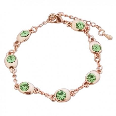 Bracelet fantaisie doré faux cristaux verts