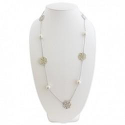 Sautoir argenté fleurs et perles
