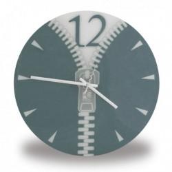 Horloge murale à motif fermeture éclair grise