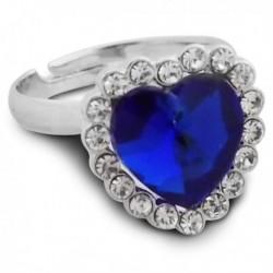 Bague fantaisie argentée avec fausse pierre cœur bleu foncé