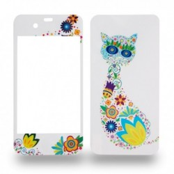 Autocollants motif chat fleuri pour iPhone 4