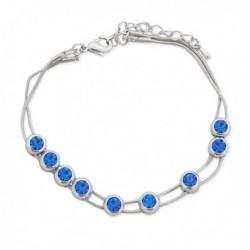 Bracelet argenté avec des fausses pierres bleu roi
