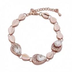Bracelet fantaisie doré goutte et faux cristal blanc