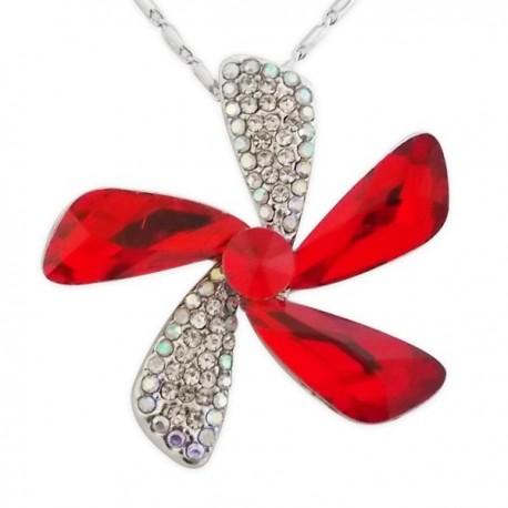 Collier pendentif fleur strass et fausse pierre rouge