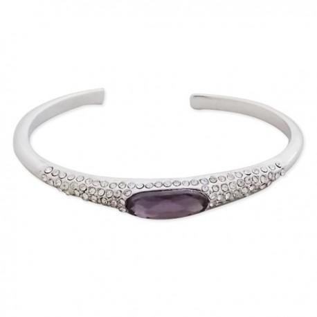 Bracelet argenté avec strass et faux cristal mauve