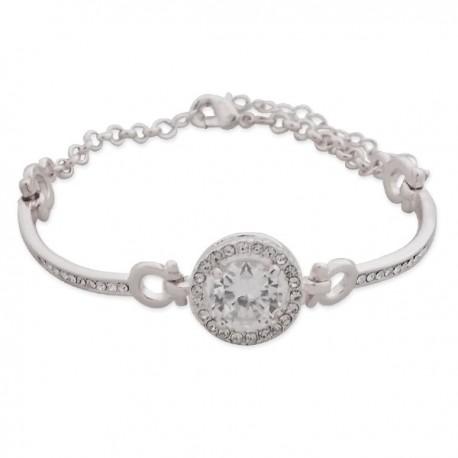 Bracelet argenté à strass et faux cristal blanc
